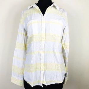 Merona White & Yellow Stripe Button Front Shirt